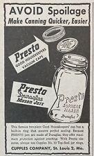1946 AD.(XH13)~CUPPLES CO. ST. LOUIS, MO. PRESTO DURAGLAS MASON JARS