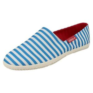 Adidas Adidrill D65185 Mens Blue Stripe Slip On Textile Pumps (R7A)