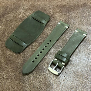Size 18/20/22mm Vintage Look Handmade Bund Style Leather Watch Strap Band #135A