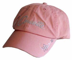 Womens Corvette Rhinestone Pink Unstructured Hat