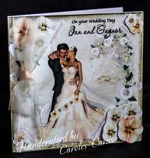 37 - HANDMADE PERSONALISED WEDDING CARD BRIDE/GROOM 8x8 size