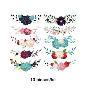 10 Pcs Flower Patches Iron on Clothes T-shirt Dresses Heat Transfer Stickers