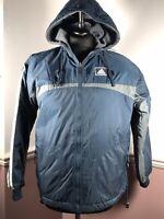 ADIDAS Mens Blue Grey Fleece Lined Outdoor Hooded Jacket / Coat Size M
