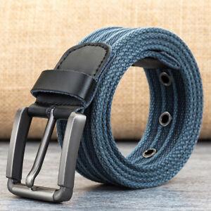 Segeltuch Gürtel Herren Damen Jeansgürtel Metallschnalle Belt 3,8 cm Breit