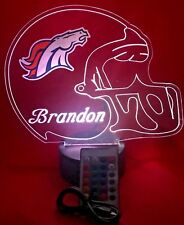 Denver Broncos NFL Football Light Up Lamp LED With Remote Free Personalized Lamp
