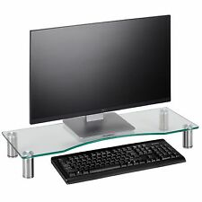 VonHaus Large Clear Curved Glass Computer Monitor TV Display Riser Shelf Stand