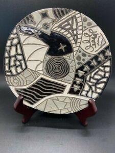 Studio Art Hand Made Hand Painted Round Raku Pottery Trivet Wall Decor EUC