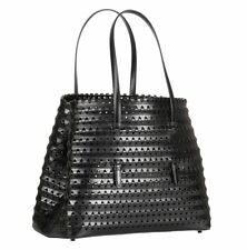 $5700+ Alaia laser cut woven leather shoulder bag, black