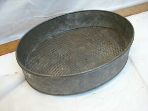 Antique Footed Tin Cheese Pudding Mold Strainer Kitchen Primitive Decorative