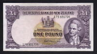 NEW ZEALAND P-159d. 1 Pound (1956-67) - Fleming.. with Thread. Prefix 179.. EF