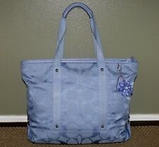 Rare COACH Daisy Blue Canvas Leather Trim TOTE CARRYALL Shoulder Bag #F16551