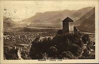 Merano Meran Südtirol Italien s/w AK 1933 gelaufen Castello Tirolo Gesamtansicht
