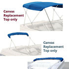 """Bimini Top Boat Cover Canvas Fabric Blue with Boot Fits 3 Bow 72""""L 54""""-60""""W"""