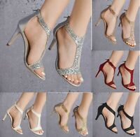 WOMENS GLITTER  HIGH STILETTO HEEL PEEP TOE EVENING PARTY SANDALS SHOES 3.-8