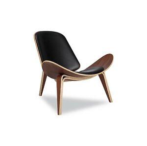 Hans J Wegner, Shell Chair Replica Lounge, Walnut wood Aniline Top Grade Leather