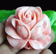 Beautiful Pink Tridacna Handmade Flower Pendant Bead  AH021