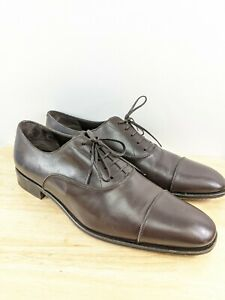 Salvatore Ferragamo Dark Brown Leather Cap Toe Oxford Shoes Sz 13 *Read Descript