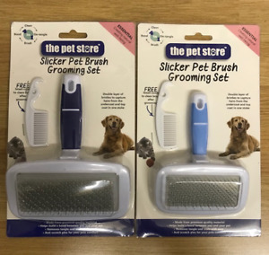 SLICKER DOG BRUSH PET BRUSH GROOMING 2 SIZES DOG & CAT HELP REMOVE TANGLES  MATS