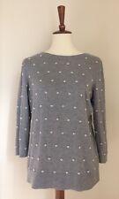 TALBOTS Women's Crew Neck Sweater Pearl Detail 3/4 Sleeves Gray Sz L