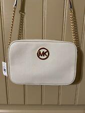 NWT MICHAEL KORS Fulton Lg Leather EW Crossbody Messenger Bag Vanilla White $168