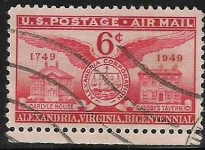 2v0123 Scott C40 US Air Mail Stamp 1949 6c Founding of Alexandria, VA Used