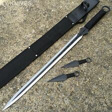 "3PC COMBO 28"" Full Tang Ninja Sword NEW Machete Throwing Knife 2 TONE 926844-BK"