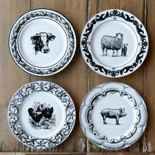 """Farm Animal Plate Set 4 Ceramic 10.5"""" Black White Farmhouse Kitchen"""