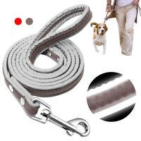 Reflective Dog Leash Safety 4ft Dog Walking Leash Puppy Pet Traning Leather Lead