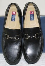 Chaps ADVISOR Black Leather Loafer w/Silver Chain Detail, 11M - MSRP $129