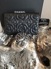 NWT CHANEL 2017 SO BLACK Caviar Camellia Flower Classic Quilted WOC Wallet Chain