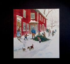 RARE Vintage Tasha Tudor Xmas Greeting Card Family Welcoming their Tall Tree