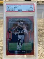 2020 Panini Prizm CEEDEE LAMB Dallas Cowboys RC Red Wave SP /149 Mint PSA 9 📈