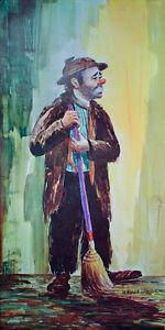 Original VINTAGE Emmett Kelly w/ Broom POSTER Art Print CIRCUS CLOWN Spotlight