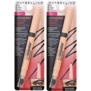 2X Maybelline New York Total Temptation Eyebrow Definer Pencil 315 Deep Brown