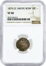 1875 CC Above Bow 10C Seated Liberty Dime Silver NGC VF30 Key Date Coin