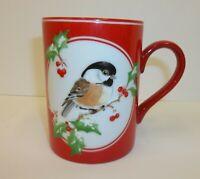 Fitz Floyd Japan Porcelain Coffee Cup Mug - Christmas Chickadee