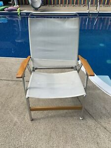 Vintage  Telescope Aluminum Folding Lawn Patio Arm Chair White Fabric
