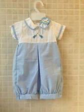 Baby Boys Clothes  Romper spanish Style blue white  0-3 m  3-6 m 6-9 months