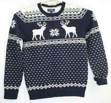 Polo Ralph Lauren Boys Raindeer Sweater Wool Blend Blue Ivory Size XL 18-20 NWT