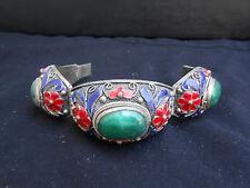 "Chinese Vintage antique repro  Jade Jadeite Filigree Silver Bracelet ""8"" L"