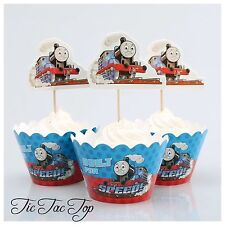 12x Thomas Train Cupcake Toppers + Wrappers. Party Supplies Lolly Loot Bag