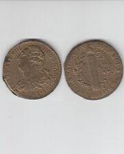 Constitution  Louis XVI  2 Sols métal de cloche 1791 A Paris  Couvent Barnabites