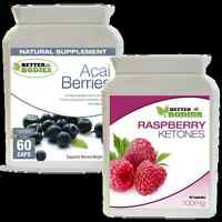 60 Raspberry Ketone + 60 Acai Berry Colon Cleanse Ketones Combo Diet Pills