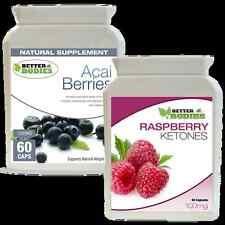 60 Raspberry Ketone + 60 Acai Berry Colon Cleanse Ketones Combo Diet Pills