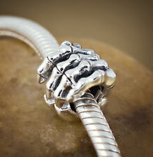 Genuine SOLID 925 Sterling silver charm bead skull bone hand goth fits bracelets