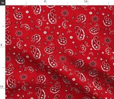 Western Paisley Red Bandana Cowboy Rustic Fabric Printed by Spoonflower BTY