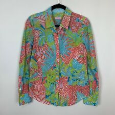 Lilly Pulitzer S/M tiger print blouse top shirt vintage bright print button up