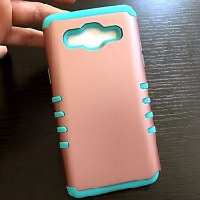 For Samsung Galaxy On5 G550 - HARD & SOFT HYBRID COVER CASE ROSE GOLD MINT BLUE