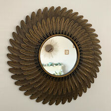 Large Vintage Gold Feathered Style Home Decorative Round Glass Wall Mirror 60cm