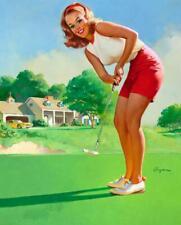"Vintage GIL ELVGREN Pinup Girl CANVAS PRINT Poster Sexy Golfer 8X10"""